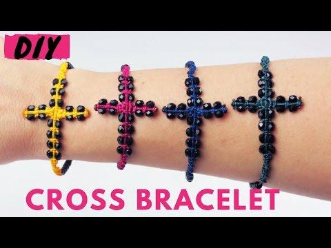 DIY Funky Macrame Cross Bracelet TUTORIAL | Φτιάξτε πολύχρωμα βραχιόλια σταυρό