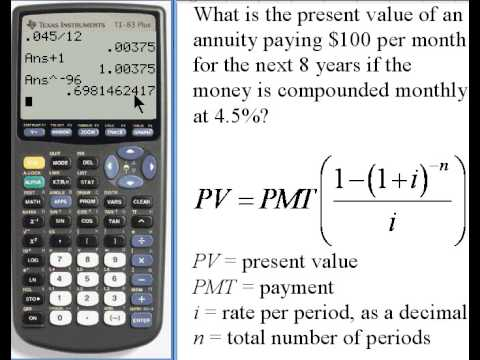 Calculating Present Value of an Annuity - TI-83/84  141-35