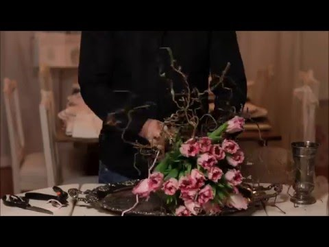 how to make a Magic Bouquet of Tulips and corkscrew hazel