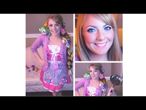 Tangled Rapunzel Halloween Makeup, Hair & Costume!