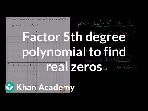 Factoring 5th degree polynomial to find real zeros | Algebra II | Khan Academy