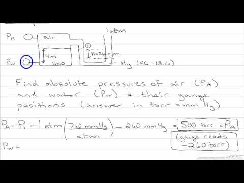 Absolute and Gauge Pressure of Air and Water with Manometer