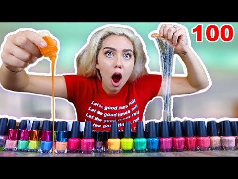 MIXING 100 NAIL POLISHES INTO CLEAR SLIME! MOST SATISFYING SLIME VIDEO! SO COLORFULL