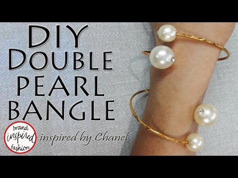 How to make a Pearl Bangle - DIY Double Pearl Bangle inspired by Chanel (Hindi)