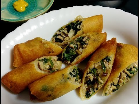 Japanese Style Spring Rolls with Spinach Shiitake and Pork Filling - Dinner Recipe Ideas