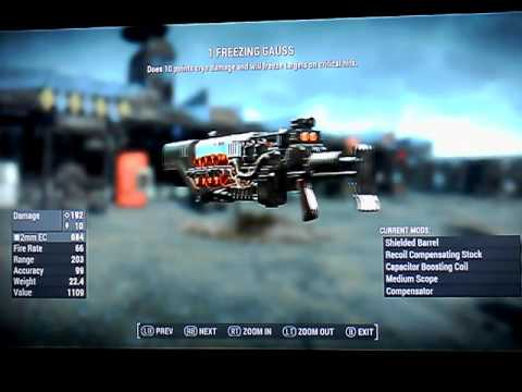 Fallout 4 Legendary Gauss Rifles that use 2mm EC ammo Xbox 1 NO MODS