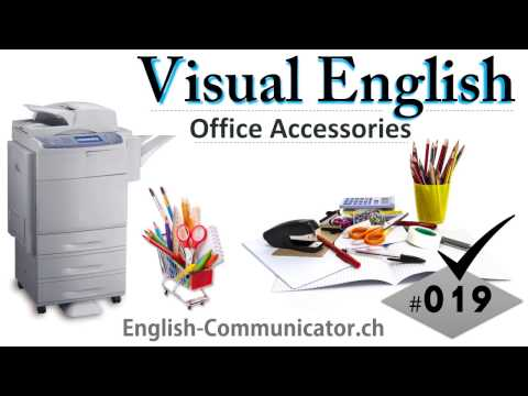 #019 Visual English Language Learning Practical Vocabulary Office Stationary Furniture Part 2