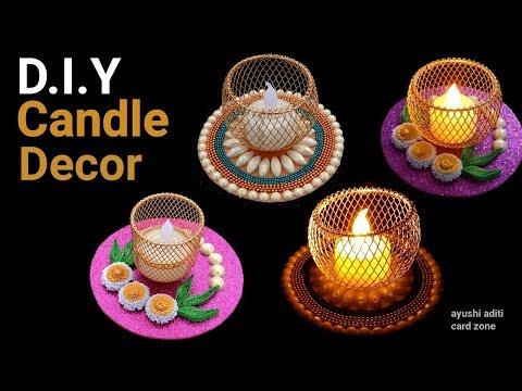 Diy candle decorating ideas | Diy candle holder | Diwali decoration ideas |