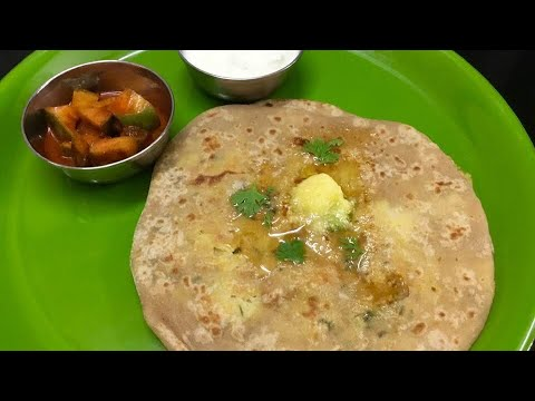 Stuffed chappathi recipe/ Aloo paratha recipe in Tamil/mixed vegetable stuffed chapathi