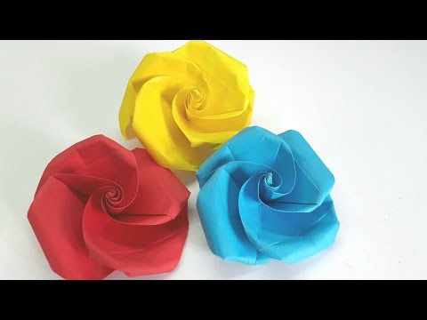 Origami Tutorial -  Very Easy and Simple to make Paper Rose (Valentine)