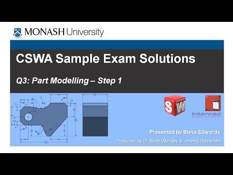 SolidWorks CSWA Practice Exam Solutions Part 3: Q4 Part Modelling p1 MP4