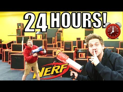 24 HOUR FORT OVERNIGHT CHALLENGE AT NERF ARENA!