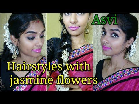 Hairstyles with jasmine flowers| 3 simple & easy wedding guest hairstyles|Gajra Hairstyles|Festive