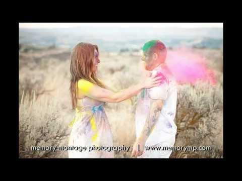 Engagement photos with color powder - Kanhaiya Holi Powder