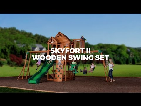 Wooden Kids Swing Set - Skyford II
