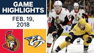 NHL Game Highlights | Senators vs. Predators - Feb. 19, 2018