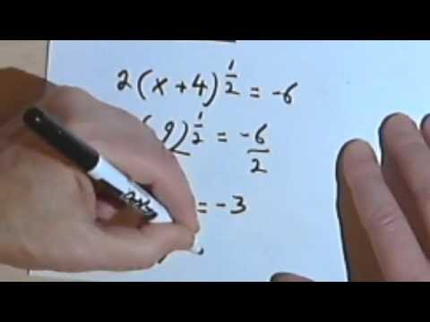 Solving Equations with Radicals and Rational Exponents, part 1 070-17a