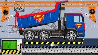 Superman Truck Toy Factory | Superhero vehicles - Video for kids | Ciężarówka Superman