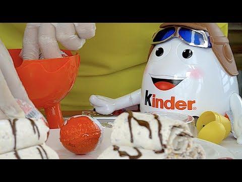 Amazing Kinder Surprise eggs Ice cream rolls
