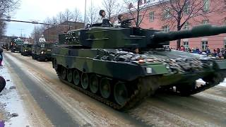 Leopard 2 and various other military vehicles at Finland