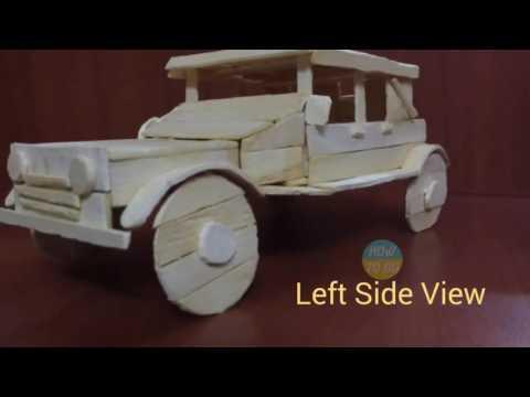Creation of Vintage Car with Ice Cream Sticks