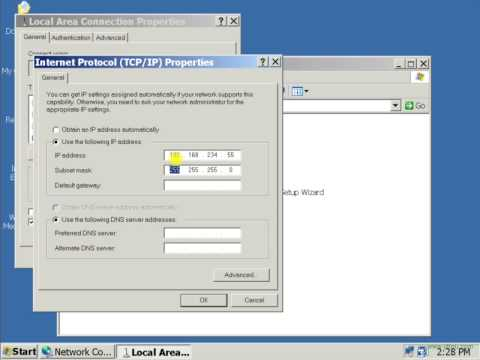 WindowsXP:Set a static IP address