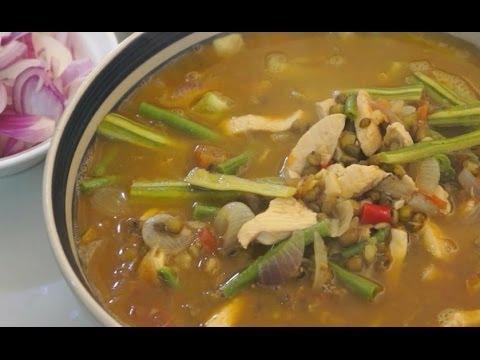 Paano magluto Ginisang Munggo Manok recipe - Chicken Pinoy Filipno Tagalog cooking