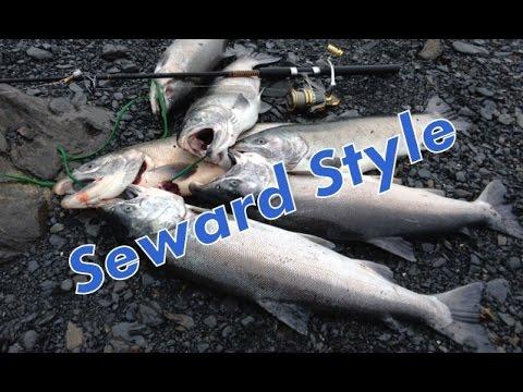 Silver salmon fishing from shore. Seward, Alaska,