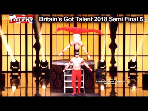 Giang Brothers BLINDFOLDED Head to Head Balancing Britain's Got Talent 2018 Semi Finals 5 BGT S12E12