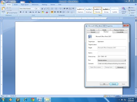 Shortcut Key to Open Microsoft Word (MS Office)