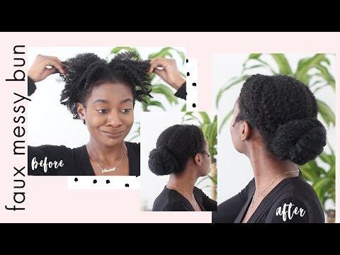 Low Faux Bun on Short Curly Hair | Short 4C Hair Styles