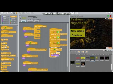 How to make a FNaF fan-game on scratch Ep.5 Animatronics redo continue button