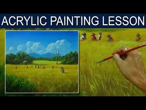Acrylic Landscape Painting Tutorial | Rice Harvest with Farmers by JM Lisondra