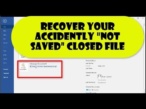 How to Recover Microsoft Word files unsaved & lost || recover Unsaved or accidently closed MS word