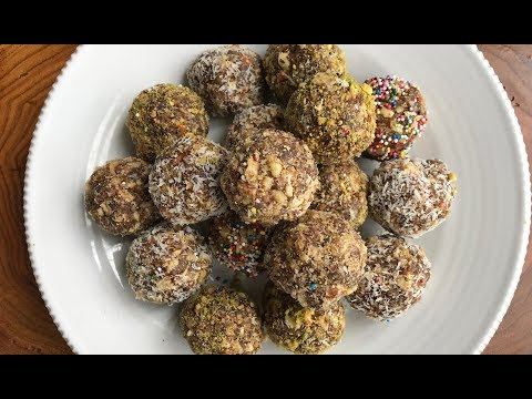 Healthy High Energy Protein Date and Nut Bites in Gujarati with Raihana's Cuisines