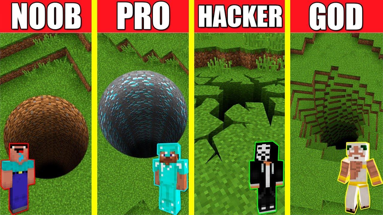 Minecraft Battle: TUNNEL HOUSE BUILD CHALLENGE - NOOB vs PRO vs HACKER vs GOD / Animation PIT HOLE