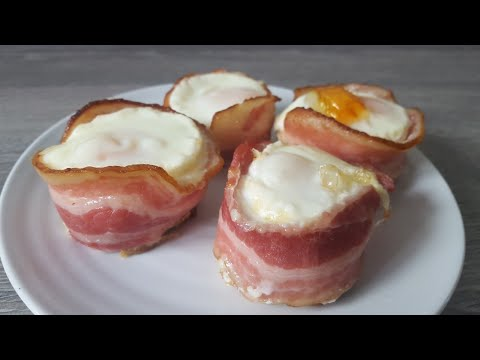 Bacon wrapped eggs breakfast muffins