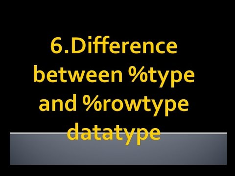PL-SQL tutorial 22 -Difference between %type and %rowtype datatype