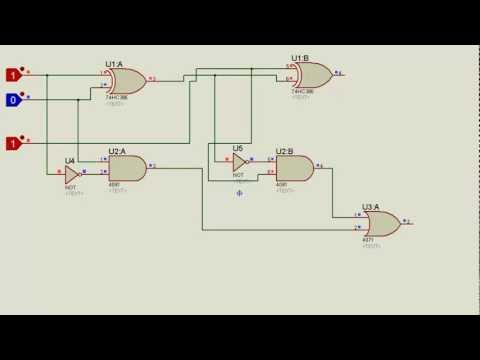 TISHITU Full Subtractor Logic Gate Tutorial in Proteus