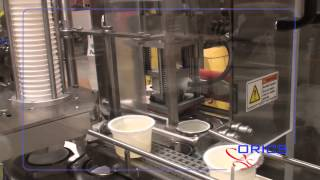 ORICS Rotary sauce filling sealing machine , cup Packaging  (Denest, Fill, Seal, Die-cut)