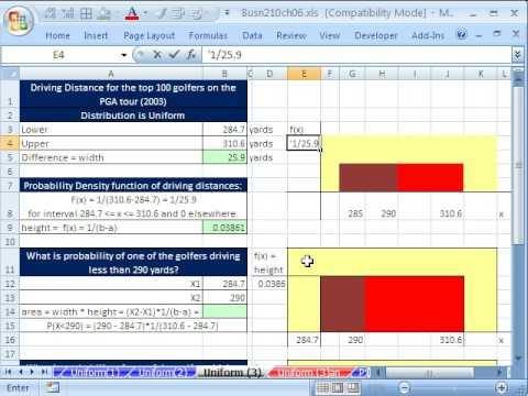 Excel Statistics 67: Uniform Probability Distributions