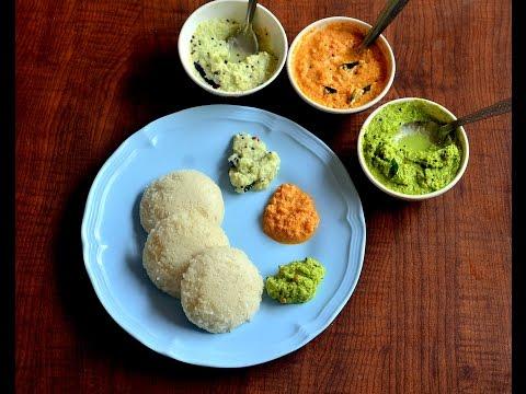 3 Coconut Chutney Varieties For Idli Dosa - White, Green, Red coconut chutney