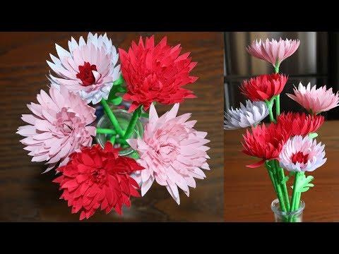 Easy way  To Make Paper Flower Chrysanthemum -  DIY - Paper Craft