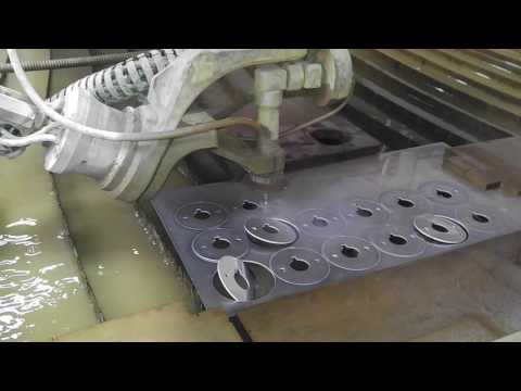WaterJet cutting of aluminum sheet metal.