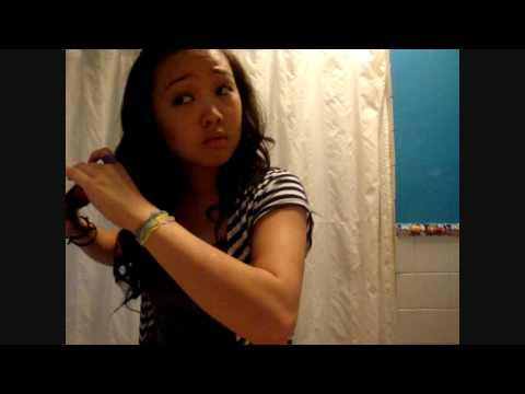 Hair tutorial: Curly hair using a straightener.