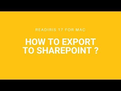 Readiris 17 Mac: Export to Sharepoint