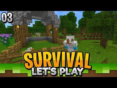 ANIMAL FARM!! - Minecraft Survival Let's Play EP.3 (PE WIN10)