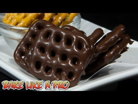 Dipped Dark Chocolate Waffle Pretzels Recipe