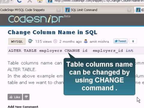 Change Column Name in SQL