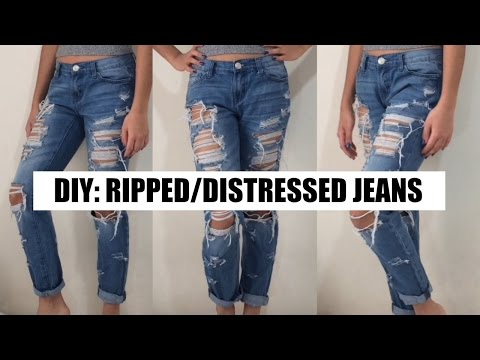 DIY Ripped/Distressed Boyfriend Jeans